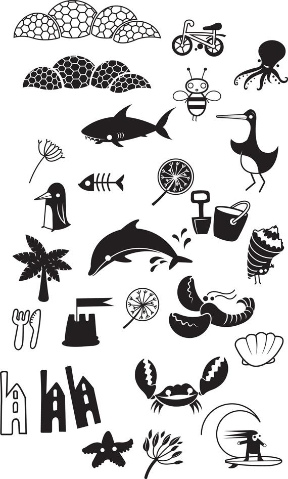 Bedruthan Hotel Kids iconography by Darren Whittington